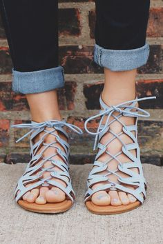 Baby blue lace up front zip back strappy sandal Strappy Sandals, Shoes Sandals, Flat Sandals, Trendy Sandals, Boho Shoes, Cute Cheap Sandals, Gladiator Sandals Outfit, Leather Sandals, Crazy Shoes