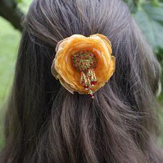 orange floral hair barette bright hair piece hair jewelry hair flowers orange flower barette floral hair clip  bridesmaid hair barette