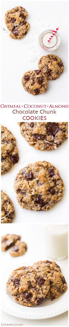 Oatmeal Coconut Almond Chocolate Chunk Cookies - they're completely amazing! Such a delicious cookie!