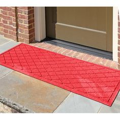 """Darby Home Co Aqua Gretchen Argyle Doormat Rug Size: Rectangle 18"""" x 28"""", Color: Solid Red"""