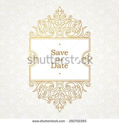Vector decorative frame in Victorian style. Outline element for template, place for text. Square floral border. Golden decor for birthday and greeting card, wedding invitation, Thank you message.