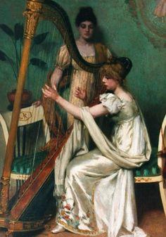 Maria Wilhelmina Wandscheer (Dutch, 1856-1936).  A harpist.