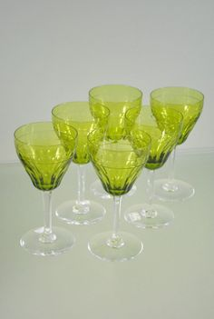 Set of six Val St Lambert coloured wine glasses c.1950  Code: 16EA59  Price: NZ $750.00