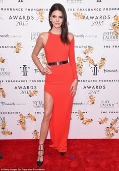 Ravishing in red! Kendall Jenner looked heaven scent at the Fragrance Foundation Awards on Wednesday