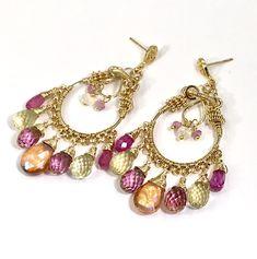 Gemstone Hoop Chandelier Earrings Gold Pastel Pink Topaz & Sapphire – doolittlejewelry #gemstonechandelierearrings #luxurygemstonechandelierearrings #pinkchandelierearrings #coiledgoldchandelierearrings #boholuxeearrings