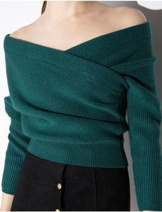 Green Crop Off The Shoulder Sweater