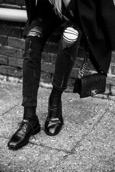 black alternative fashion style grunge skinny jeans ripped denim jeans shoes boots