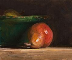 daily painting titled Red pear with provençal bowl - Julian Merrow-Smith