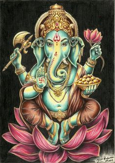 Ganesh: Remover of Obstacles and Patron of the Arts in the Hindu pantheon. Ganesha Art, Lord Ganesha, Ganesh Tattoo, Hindu Tattoos, Symbol Tattoos, Indian Gods, Indian Art, Shiva, Tattoo Ideas