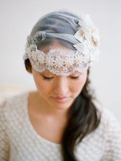 Veils Inspiration: 15 Gorgeous Headpieces of Winter Weddings! @Elizabeth Messina Photography