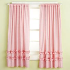 pink curtains with ruffles