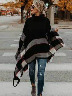 Fashion High-neck Knitting Sweater Cover-Ups Tops – 8 Banana Poncho, distressed jeans, boots Knit Fashion, Look Fashion, Teen Fashion, Feminine Fashion, Cheap Fashion, American Fashion, Catwalk Fashion, Affordable Fashion, Unique Fashion