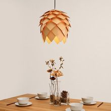 Cono de pino de madera creativa luz colgante lámpara colgante De Madera Hechos A Mano Hecho A Mano Japonés de Europen Para Bar…