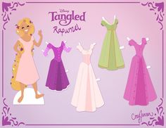 Tangled Paper doll printable. This guy has paper dolls for almost all of the Disney princesses and some odd other people. (who really needs a Beyonce paper doll?)