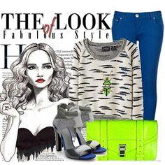 blue skinny jeans, black & white sweater, neon bag