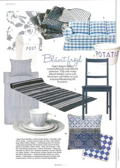 Blue White delight featuring an Ektorp sofa from IKEA with a Loose Fit Country style cover in Brera Quadretto Cobalt by Designers Guild for Bemz in Swedish Plaza Interior nr7 2012.