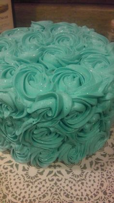 a tiffany blue cake with disco dust sparklies!! all butter cream goodness!