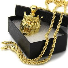 """14k Gold Plated Micro Paved King Crown Lion 3D Pendant Hip-Hop 24"""" 4mm Rope Chain"""