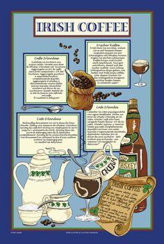 IRISH COFFEE Recipe Linen Tea Dish Cloth  great by mountainlodge, $7.95