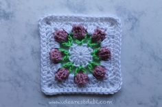 Crochet Flower Bud Granny Square- first one of 2 tutorials, the 2nd finishes of the square....