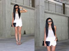 White Geometric Shorts, Asos Black Sandals