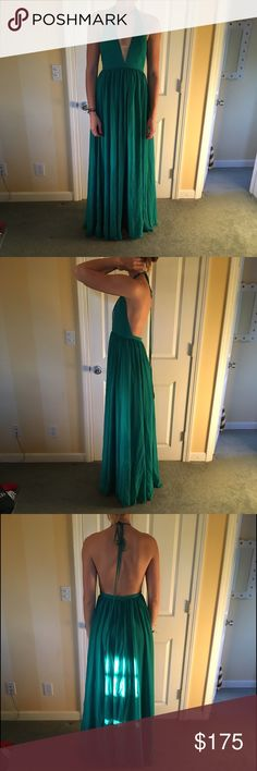 Prom dress, simple, elegant, comfy Low cut, backless, seafoam green prom dress. So simple with very low cut halter top (mesh webbing so nothing falls out), chiffon prom dress. Only worn once, easily one of my favorite dresses ever. Fits true to size. So beautiful, great brand. Fame & Partners Dresses Prom