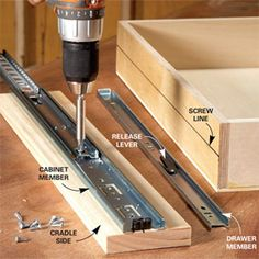 How to Build Under-Cabinet Drawers & Increase Kitchen Storage - nice technique w. How to Build Under-Cabinet Drawers & Increase Kitchen Storage - nice technique with screw level lines for the rails Diy Kitchen Storage, Storage Cabinets, Diy Storage, Kitchen Organization, Storage Spaces, Storage Ideas, Extra Storage, Storage Drawers, Kitchen Cabinets