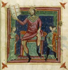 "Mercurio in domicilio nei Segni Gemelli e Vergine. Miniatura dal ""Liber Astrologiae"" di Georgius Zothorus Zaparus Fendulus, XIII sec."