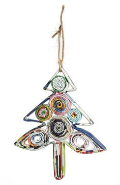 Make Christmas a little more colorful with a fun tree ornament made from recycled paper.