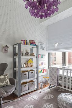 Modern Purple and Silver Nursery - love the purple chandelier!