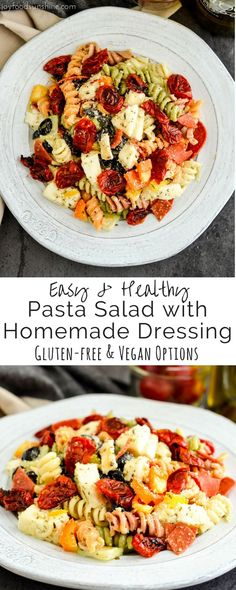 Healthy & Flavorful Pasta Salad with Homemade Dressing & Roasted Tomatoes! This recipe is the perfect make-ahead BBQ side dish! It's full of fresh veggies, pepperoni and fresh mozzarella cheese! Glute