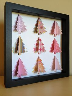 Pink Christmas Tree, 3D Paper art. $35.00, via Etsy.