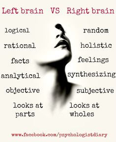Are you left-brain dominant or right-brain dominant? :) #leftbrain #rightbrain #psychology #psychologistdiary www.facebook.com/psychologistdiary