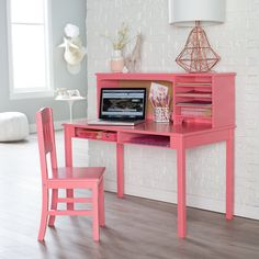 Guidecraft Media Desk u0026 Chair Set - Coral - ID828 : kidkraft deluxe vanity and chair - Cheerinfomania.Com