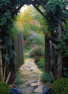 Wonderful Secret Garden Pathway Design Ideas For Backyard Garden Doors, Garden Gates, Garden Entrance, House Entrance, Garden Archway, Patio Doors, Rustic Gardens, Outdoor Gardens, Garden Cottage