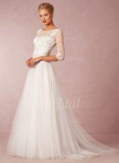 A-linjeformat Rund-urringning Court släp Tyll Bröllopsklänning med Applikationer Spetsar (0025057548)