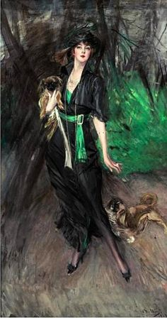 Boldini, Giovanni (1842-1931) - 1913 Portrait of Lina Bilitis with Two Pekinese (Sotheby's New York, 2005) by RasMarley, via Flickr