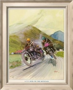 Two Competitors in the Tourist Trophy Race Fight It out Amid the Hills of the Isle of Man Impression giclée par Grimes sur AllPosters.fr