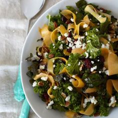 Kale, Swiss Chard & Butternut Squash Salad. Change the chèvre to something else...cashew cheese?