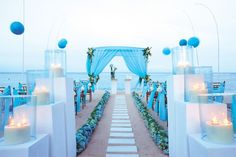 Blue is an amazing color, suitable for many occasions and I think that every person can find a shade of blue according his or her taste. It's a traditional color of water and, of course, the most often chosen one for a beach or seaside wedding.