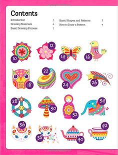 """The first Table of Contents page in the book """"Draw Groovy"""" by Thaneeya McArdle, showing you some of the cool, colorful art lessons in this groovy book! Drawing Process, Basic Drawing, Coloring For Kids, Coloring Books, Table Of Contents Page, Basic Shapes, Diy For Kids, Art Lessons, New Art"""