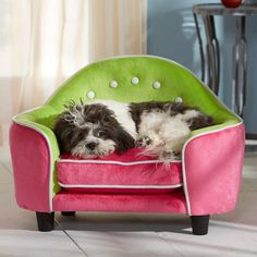 ELIZABETH PET BED IN PINK & GREEN