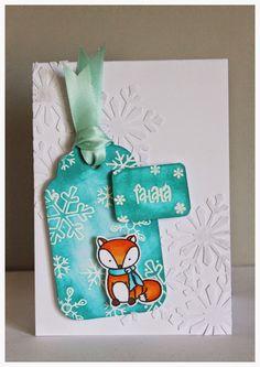 Weihnachtskarte mit Fuchs von Create a Smile Stamps, mit Tag, Christmas-Winter-Card with Fox