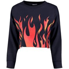 Boohoo Petite Charlotte Flame Print Crop Sweat ($18) ❤ liked on Polyvore featuring tops, hoodies, sweatshirts, sweaters, cut-out crop tops, crop top, boohoo tops, polyester crop tops and print sweatshirt