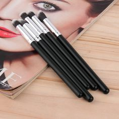 5 pcs Silver Black Soft Synthetic Small Blending Foundation Concealer Brush Top Quality