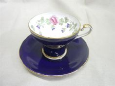 Cobalt Blue Aynsley Corset Shaped With Blue Bells and Roses Tea Cup & Saucer Set