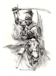 Hussar, beginning of the century. Medieval, Super Pictures, Warrior Drawing, Green Knight, Arabian Art, Warrior Tattoos, Military Pictures, Dark Ages, British Museum