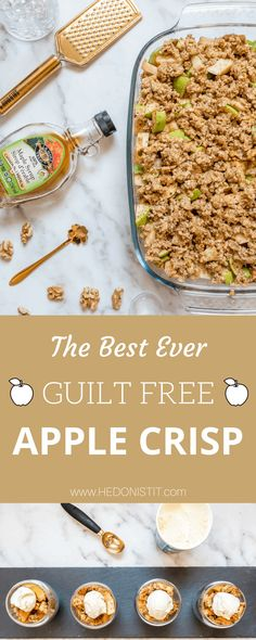 The best healthy clean eating recipe for a delicious apple crisp (crumble)! It's easy and quick to make, with oatmeal crunchy topping. Gluten free vegan recipe. | www.hedonistit.com