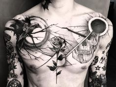 Awesome bw chest piece tattoo with bird and rose, moon and sun