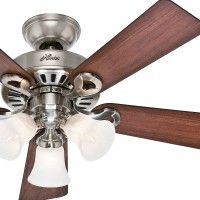 "44"" Brushed Nickel Finish Ceiling Fan with Remote Control- 90% Pre-Assembled. This 44"" Brushed Nickel Finish fan delivers a powerful cooling air flow to any size indoor room with its 3 Speed WhisperWind® motor5 Dark Cherry/Maple Reversible Dust Armor™Protected BladesUniversal Handheld Remote Control is included.3 Swirled Marble Light Fixtures with 60W Candelabra Incandescent Bulbs3"" Downrod Included This ceiling fan was originally returned to Hunter Fans for reasons like buyer's…"